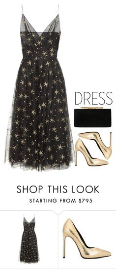 """""""Two tone dress, Black and Gold"""" by solmacias1 ❤ liked on Polyvore featuring Valentino, Yves Saint Laurent, Jimmy Choo and vintage"""