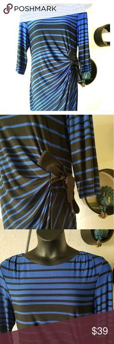 Women's Eloquii Stripe Tie Waist  Dress 16W Women's Eloquii Blue Black Stripe Bow Faux Tie Waist Dress Size 14W 3/4 Sleeve. Excellent Pre-owned Condition. Eloquii Dresses