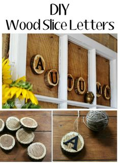 Rustic Wood Slice Letters, Autumn Mantel and Wreath - KnickofTime.net