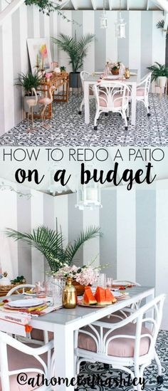How to redo a patio on a budget. Outdoor patio decor ideas on a budget. Including some fun DIY's! If you have a small backyard covered deck, I have ideas to make it boho and modern. Black and white tile on this pool side tropical patio with pineapple decor. A pink and gold bohemian dream!