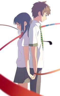 Kimi no na wa Anime Films, Anime Characters, Mitsuha And Taki, Kimi No Na Wa Wallpaper, Couple Manga, Tsurezure Children, The Garden Of Words, Your Name Anime, Chibi