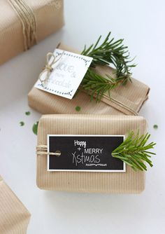 Cute brown paper and fir tree branch decoration. Simple, rustic christmas wrap.