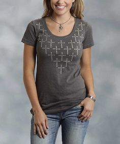This Gray Cross-Embellished Tee - Women & Plus by Roper is perfect! #zulilyfinds