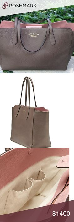 """Taupe and pink pebbled leather large Gucci swing Material: Grey/pink pebbled leather  Code: 354397-498879 Measurements: 13.5"""" L x 6.5"""" W x 11.5"""" H Interior Pockets: One zip pocket, one PDA pocket and one cell phone pocket Handles: Double flat leather handles Handle Drop: 7"""" Closure/Opening: Open top with covered magnetic snap closure Interior Lining: Fine textile lining Hardware: Goldtone Gucci Bags Shoulder Bags"""