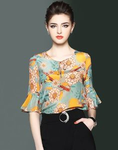 Blue Yellow Silk Floral Tied Bell Half Sleeve Top