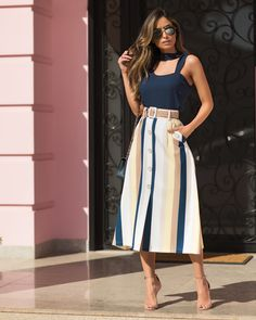 ✸ Look da com saia midi listrada + blusa com detalhe choker ✸… ✸ Look from with striped midi skirt + choker detail blouse ✸ Super trend! ✸ Available in our Online Shop ✸ Modest Outfits, Modest Fashion, Stylish Outfits, Trendy Fashion, Summer Outfits, Fashion Dresses, Fashion Looks, Trendy Style, Dress Skirt