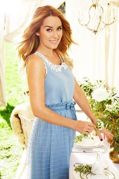 """Hosting a Mother's Day brunch is a breeze with party-planning tips from Lauren Conrad's new book """"CELEBRATE,"""" right down to the perfect outfit. Try a sky blue midi dress on for size. The double-bow waist is twice as nice while the crocheted collar and sleeve details add the right amount of femininity. Find the entire LC Lauren Conrad collection only at Kohl's."""