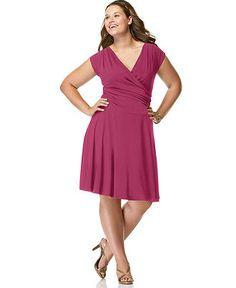Soprano Plus Size Short-Sleeve Faux-Wrap Dress - Plus Size Dresses - Plus Sizes - Macy's