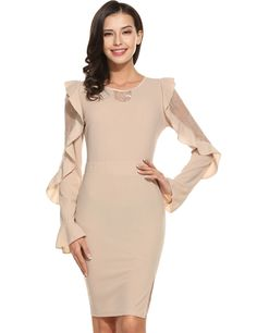Blue Women Casual Long Flare Sleeve Patchwork O Neck Lace Pencil Dress