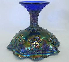 Mikado ruffled compote - blue - really nice inside & out, scarce .... sold 475.00
