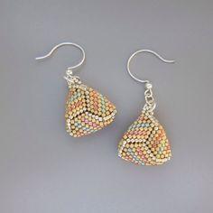 Peach/green/matte gold beadwoven knot earrings