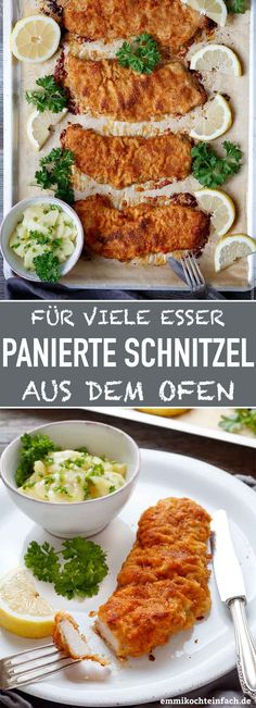 Panierte Schnitzel aus dem Ofen – emmikochteinfach Breaded schnitzel from the oven The uncomplicated alternative to the pan. Ideal if you want to make many guests or eaters happy. No frying fat and no pan battle required, just on the baking tray the oven Homemade Green Bean Casserole, Healthy Green Bean Casserole, Classic Green Bean Casserole, Greenbean Casserole Recipe, Casserole Recipes, Creamy Chicken Mushroom Pasta, Cooking Turkey Bacon, Bacon In The Oven, Four
