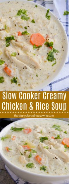 The perfect soup ready made right in your slow cooker. This Slow Cooker Creamy Chicken and Rice Soup is made with veggies, chicken, broth, finished with a creamy sauce to make the best soup. Creamy Chicken Rice Soup, Slow Cooker Creamy Chicken, Slow Cooker Soup, Slow Cooker Recipes, Crockpot Recipes, Chicken Cooker, Creamy Rice, Chowder Recipes, Soup Recipes