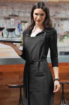 Butcher Apron with Contrasting Ties Cafe Uniform, Waiter Uniform, Kellner Uniform, Bartender Uniform, Waitress Outfit, Restaurant Aprons, Cocktail Waitress, Plus Size Cocktail Dresses, Work Fashion