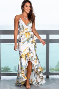 Get this gorgeous White Printed High Low Wrap Dress from Saved by the Dress Boutique! Must have maxi dress in pretty floral tropical print and wrap style! White Maxi Dresses, Maxi Wrap Dress, Tee Dress, Swing Dress, Boho Dress, Cute Dresses, Summer Dresses, Wrap Dresses, Elegant Dresses For Women