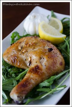 Rotisserie style chicken, marinated in lemon, honey, garlic and pepper, and oven-roasted to golden-brown perfection. An easy and healthy light dinner.