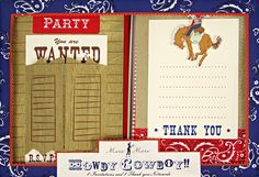 Meri Meri Cowboy Invitation/Thank You Card Pack-Use template for a pop up book with a child's picture and cowboy/cowgirl story