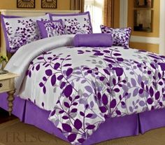 Are you looking for a cute purple comforter? Here you will find the cutest purple comforter sets for girls and women being sold! Purple Bed Sheets, Purple Comforter, Purple Bedding Sets, Black Bedding, Grey Duvet, Purple Bedroom Decor, Purple Bedrooms, Bedroom Orange, King Size Comforter Sets