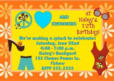 Peace, love and swimming summer pool party invitation.