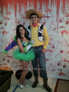 Homemade Couple Costume: Sexy Buzz Lightyear and Woody... This website is the Pinterest of costumes