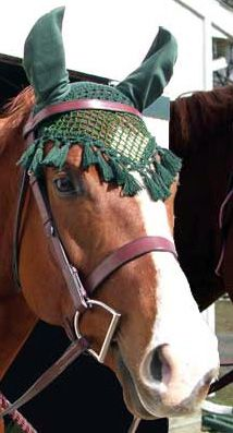 OMGOSH, these things are awesome! Cost $4.95 & worth 3x that much! This site offers many colors, too! Saddles Tack Horse Supplies - ChickSaddlery.com Crocheted Fly Bonnet