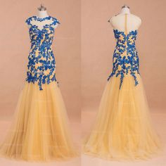 Modest Gold Blue Mermaid Prom Dresses cap sleeves