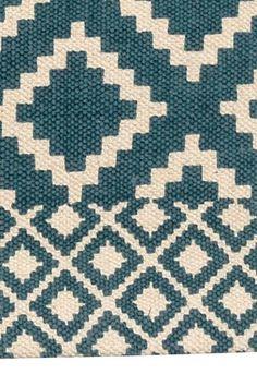 Tapis en coton à motif: Tapis rectangulaire en coton tissé avec motif imprimé sur le dessus.