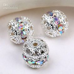 Wholesale Spacer Beads - Buy 8mm Crystal AB Spacer Beads,handicraft Globose Beads,silver Plated Pave Rhinestones Balls Findings, $0.15   DHgate