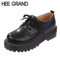 HEE GRAND Style Britannique Femmes Oxford Printemps Hiver Dentelle-Up Appartements Bout Rond Creepers Casual Plate-Forme de Dames Chaussures Femme XWD2534