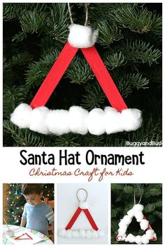 santa hat christmas ornament craft for kids using popsicle sticks and cotton balls easy diy - Christmas Decoration Craft Ideas