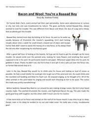 Third Grade Reading Comprehension Worksheet - Bacon and Wool: You're a Baaaad…