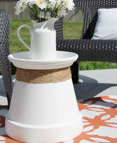 Accent Table, terra cotta, planters, clay pots, furniture, garden