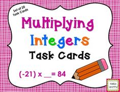 Multiplying Integers Task Cards- set of 20 colorful task cards for students to practice multiplying positive and negative numbers.  By Hello Learning $