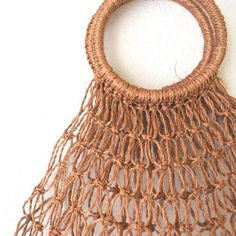 1970s Honey Brown Jute Macrame Market Tote Bag on Etsy, $16.00