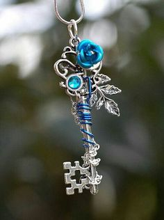 A Boss and an Angel (Jacksepticeye x Reader) - Chapter 21 Key Jewelry, Jewelery, Jewelry Accessories, Jewelry Making, Unique Jewelry, Key Necklace, Blue Necklace, Necklaces, Magical Jewelry