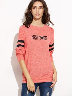 Pink Marled Knit Letter Print Striped Sleeve Sweatshirt — 11.36 € color: Pink size: S,XS