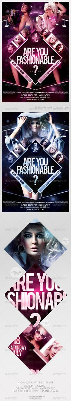Are You Fashionable? Flyer Template This flyer is perfect for the promotion of Club Parties, Fashion Events, Musicals, Festivals, Concerts or Whatever You Want! Features: The PSD file is Banner Design, Flyer Design, Nightclub Design, Promotional Flyers, Club Parties, Print Templates, Art Logo, Graphic Design Inspiration, Flyer Template