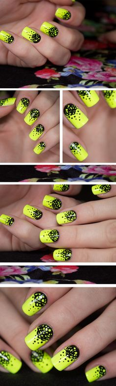 Neon yellow & black nails #nail #nails #nailart