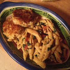 Chipotle pasta with crab cakes