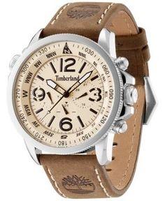 Timberland Men's Camptom Brown Leather Strap Watch 46x53mm TBL13910JS07 - Brown