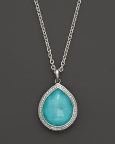 """Ippolita Sterling Silver Stella Teardrop Pendant Necklace in Turquoise Doublet with Diamonds, 16"""""""