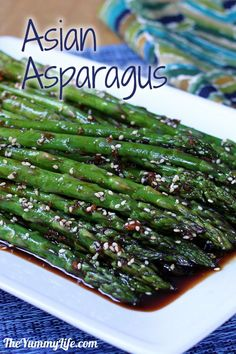 Easy Asian Asparagus (or Green Beans). Make it spicy or mild. Gluten free, vegetarian, and vegan.  Inspired by PF Changs spicy green beans.