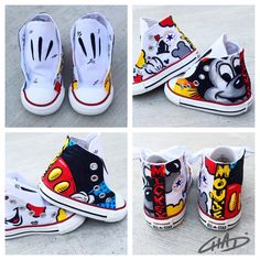 Cuteness factor level is dangerous. If your kid needs to look fly, you know where to find me. Disney Painted Shoes, Painted Canvas Shoes, Custom Painted Shoes, Painted Vans, Painted Sneakers, Hand Painted Shoes, Custom Shoes, Converse All Star, Kids Converse