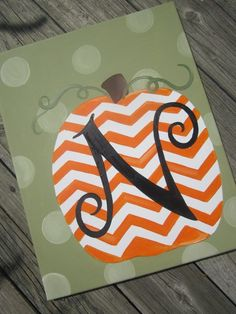 Chevron Pumpkin canvas