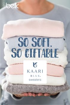 Powder blue, blush pink, snowy white – Kaari Blue™ sweaters are pretty in winter pastels and perfect for gift-giving – or receiving! The pretty little details on these so-soft sweaters – a ribbon tie here, a little lace there – give us the warm and fuzzies. Shop Kaari Blue™ sweaters in stores or at belk.com.