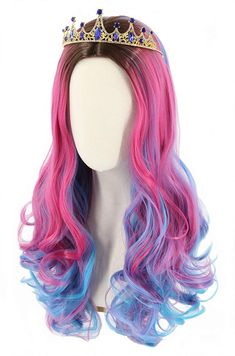 Topcosplay Kids Child Girls Wig Long Wavy Pink Mixed Blue Halloween Costume Party Wig Black Roots