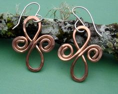 Hammered Copper Wire Jewelry | Spirals Copper Earrings - Celtic Jewelry - Hammered Dangle Wire ...