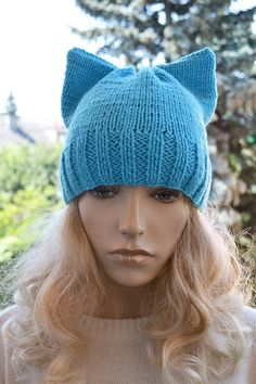 Knitted cap cat  turquoise  Slouchy cable style by DosiakStyle, #Knittedcapcat