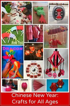 15 Chinese New Year Crafts: Preschool through Elementary. #ece Multicultural art projects: dragons, spring blossoms, Chinese lanterns, a gong, etc.