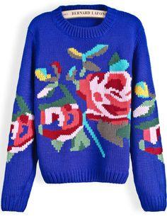 Blue Long Sleeve Floral Crop Knit Sweater - Sheinside.com